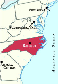 Orientation map of Mid-Atlantic States, highlighting Raleigh, North Carolina