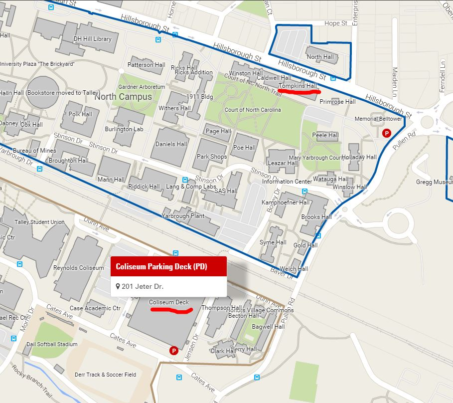 How to find us location department of english nc state for Location parking