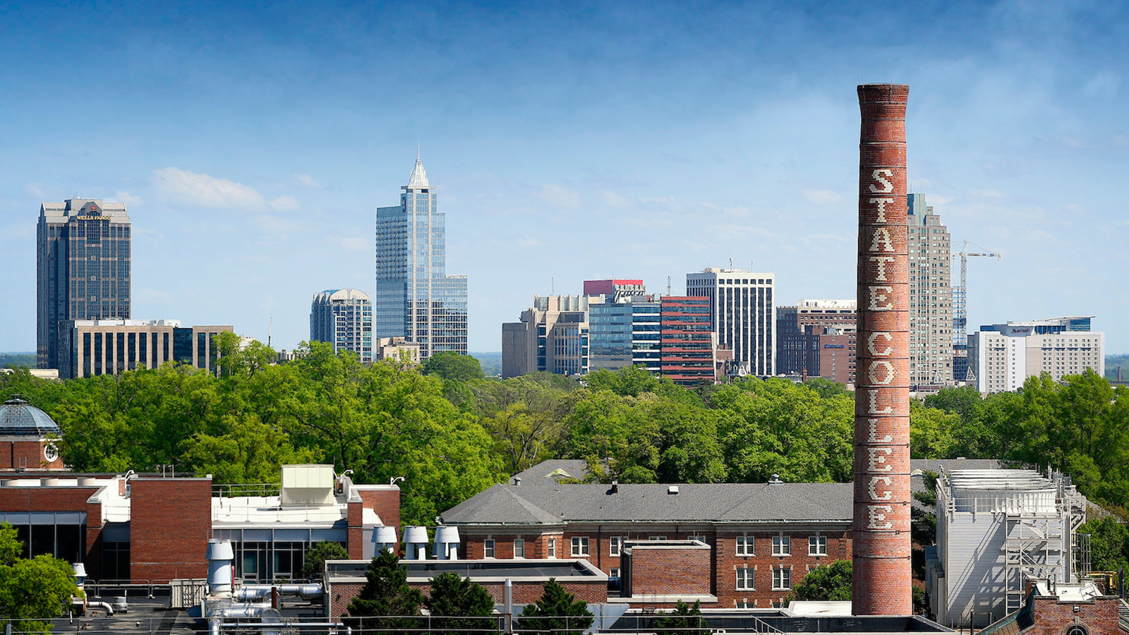 The skyline of downtown Raleigh from NC State's campus.
