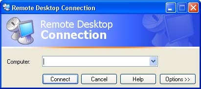 The Remote Desktop Connection window