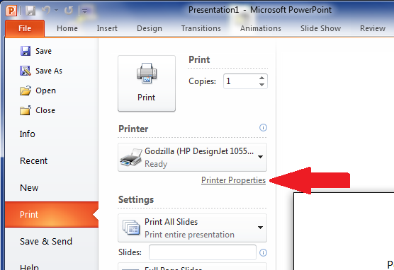 Printer Properties - thumbnail