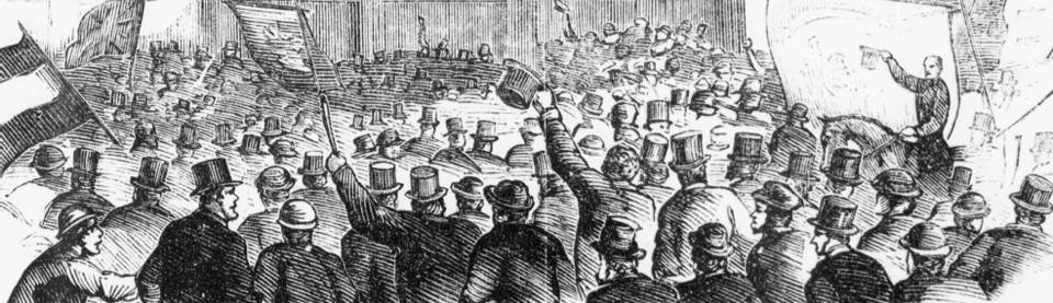 Wood-engraved crowd scene at a political rally