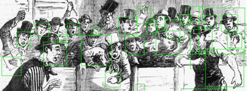 Face detection errors in an illustration of a crowded dog fight in the IPNW