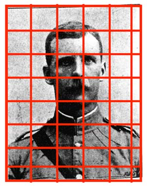 Image split into zones for detecting halftones