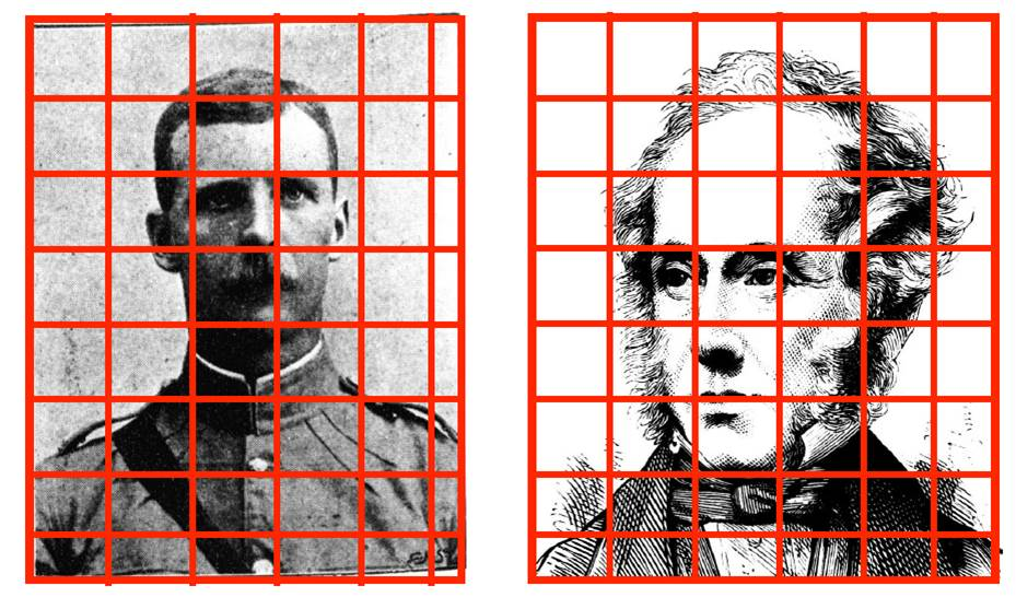 Illustrations divided into sections for halftone detection