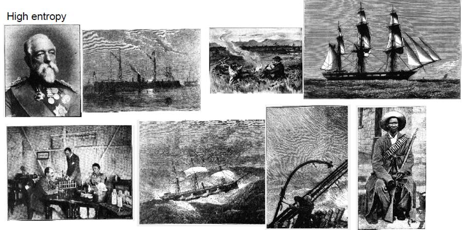 Examples of illustrations measured as high entropy