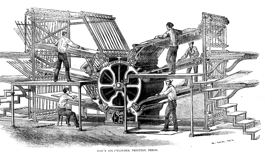 "Richard March Hoe's printing press—six cylinder design."" N. Orr, History of the Processes of Manufacture. 1864."