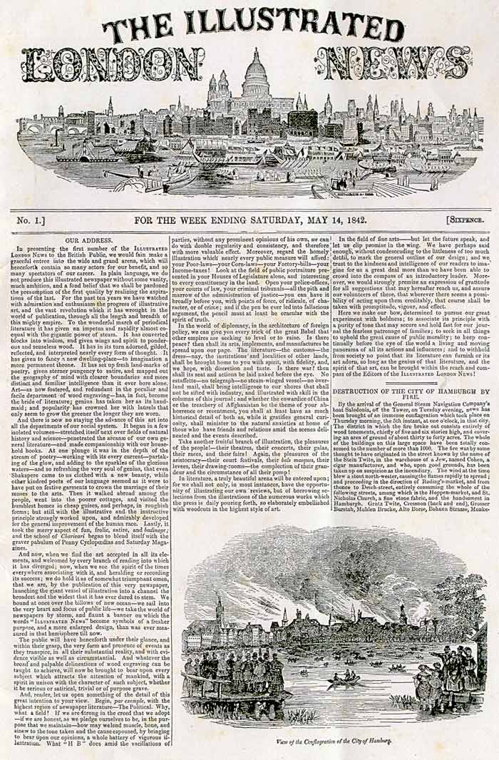 Front page of first issue of Illustrated London News, 1842
