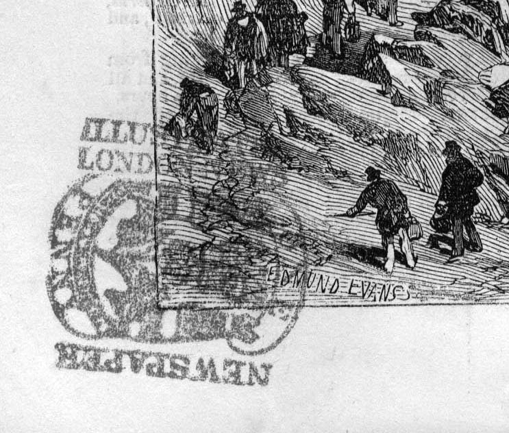 Detail of a penny stamp on the Illustrated London News, 1855