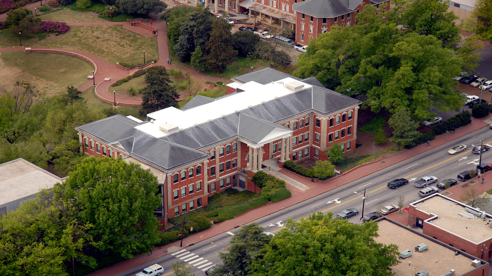 Aerial view of the Winston-Caldwell-Tompkins building