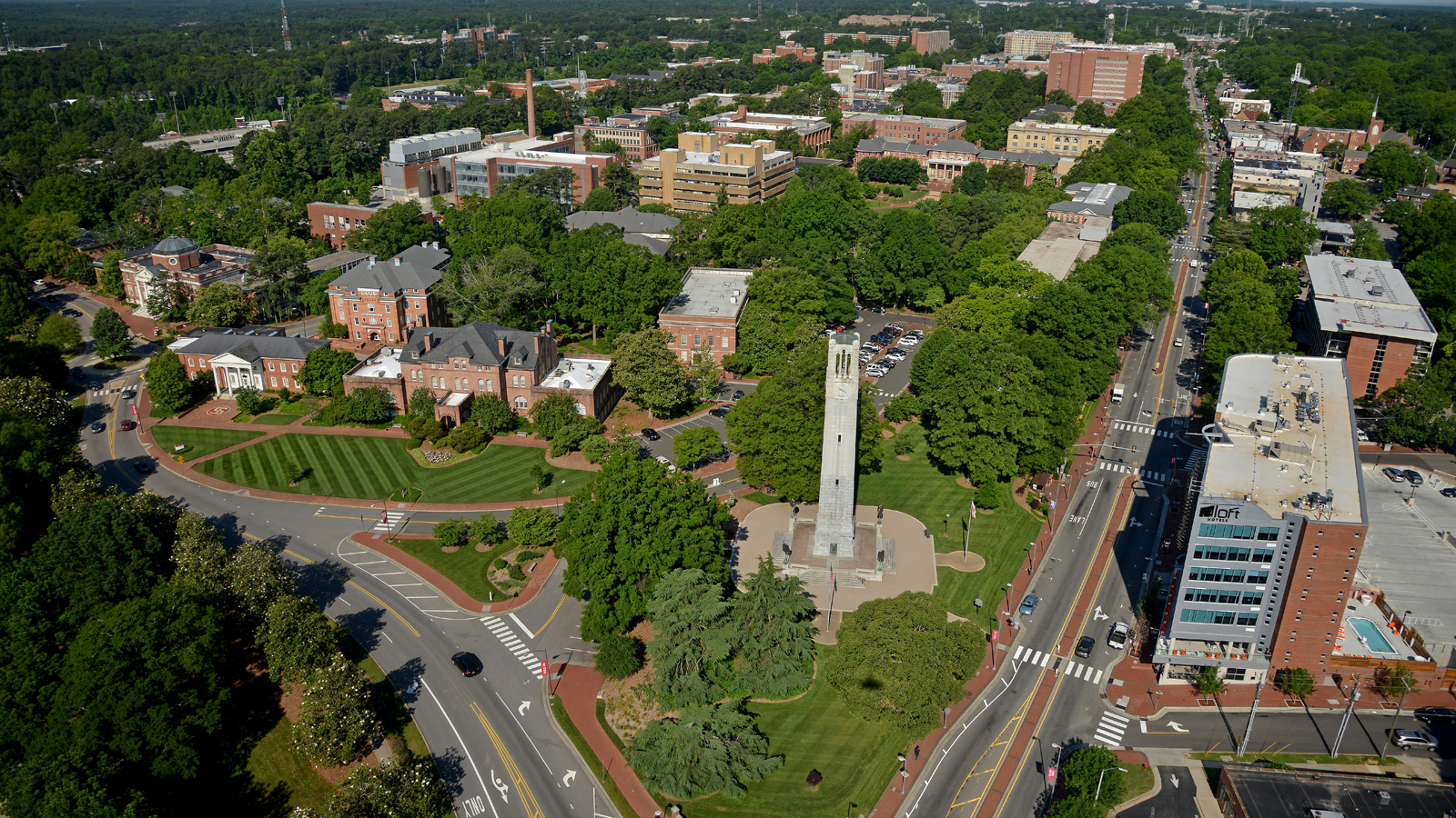 An aerial image of NC State's campus.