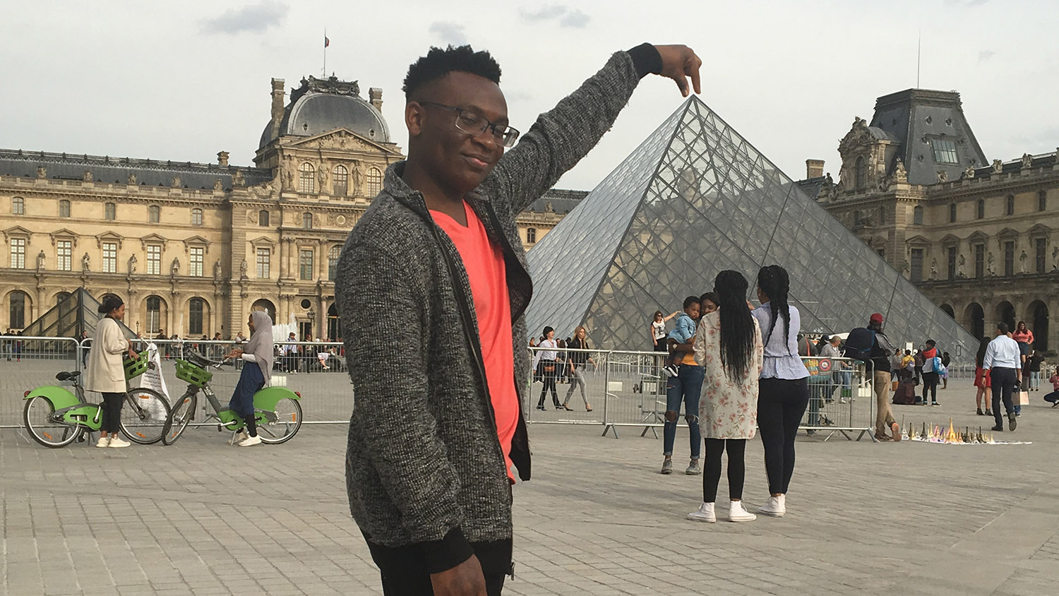 A student is pictured on a study abroad trip in Paris.